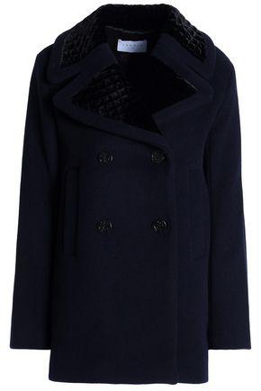 산드로 SANDRO Double-breasted velvet-trimmed wool-blend coat,Navy