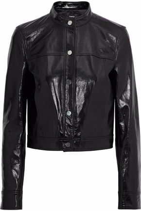 띠어리 Theory Cropped crinkled patent-leather jacket,Black