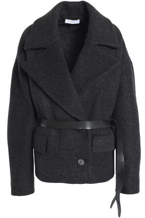 이로 IRO Double-breasted brushed wool-blend coat,Charcoal