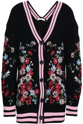 마쥬 MAJE Embroidered knitted cardigan,Black