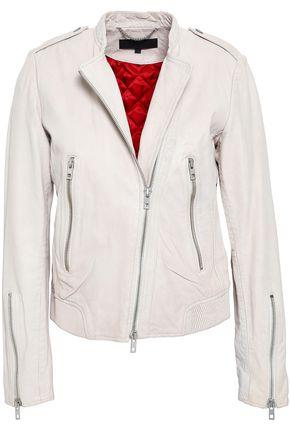 랙앤본 Rag & Bone Lyon crinkled-leather biker jacket,Off-white
