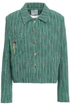 산드로 Sandro Embellished tweed jacket,Green