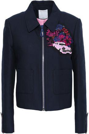 산드로 Sandro Embellished embroidered cotton-blend jacket,Navy