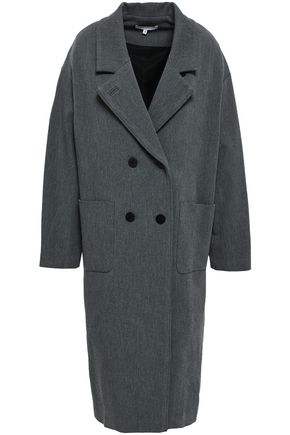 이로 IRO Double-breasted brushed-twill coat,Dark gray
