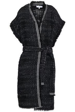 이로 IRO Belted fringe-trimmed woven cardigan,Black