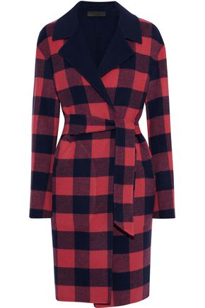 랙앤본 Rag & Bone Sven reversible checked wool-blend felt coat,Crimson