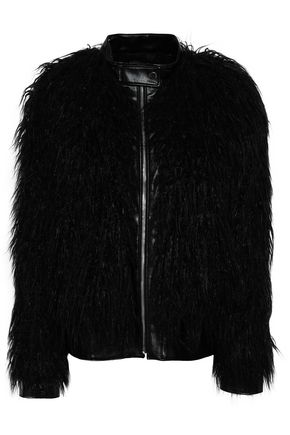 띠어리 Theory Faux leather and shearling jacket,Black