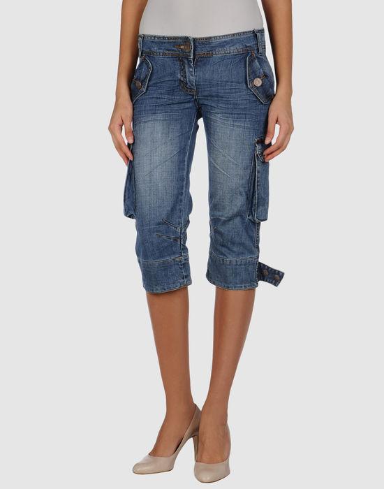 Джинсовые брюки-капри KORALLINE. Цвет: синий