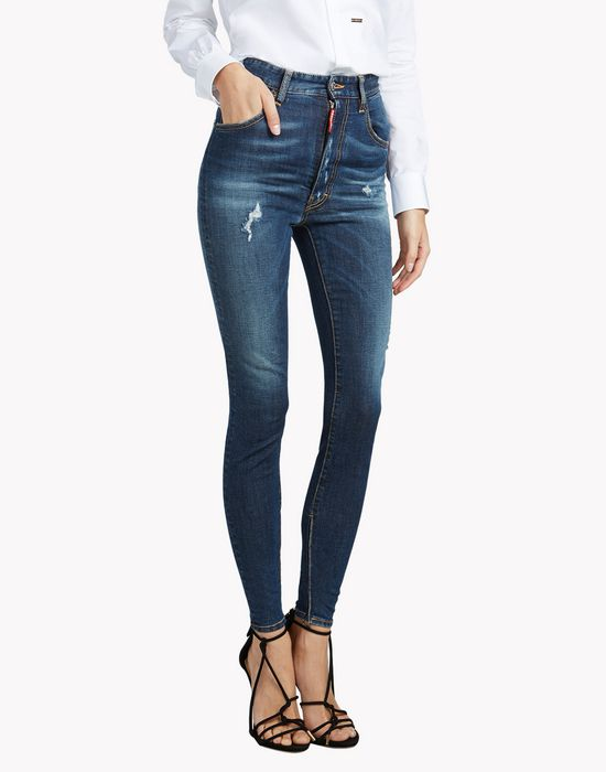 dsquared2 high waist twiggy jeans 5 pockets for women official store. Black Bedroom Furniture Sets. Home Design Ideas