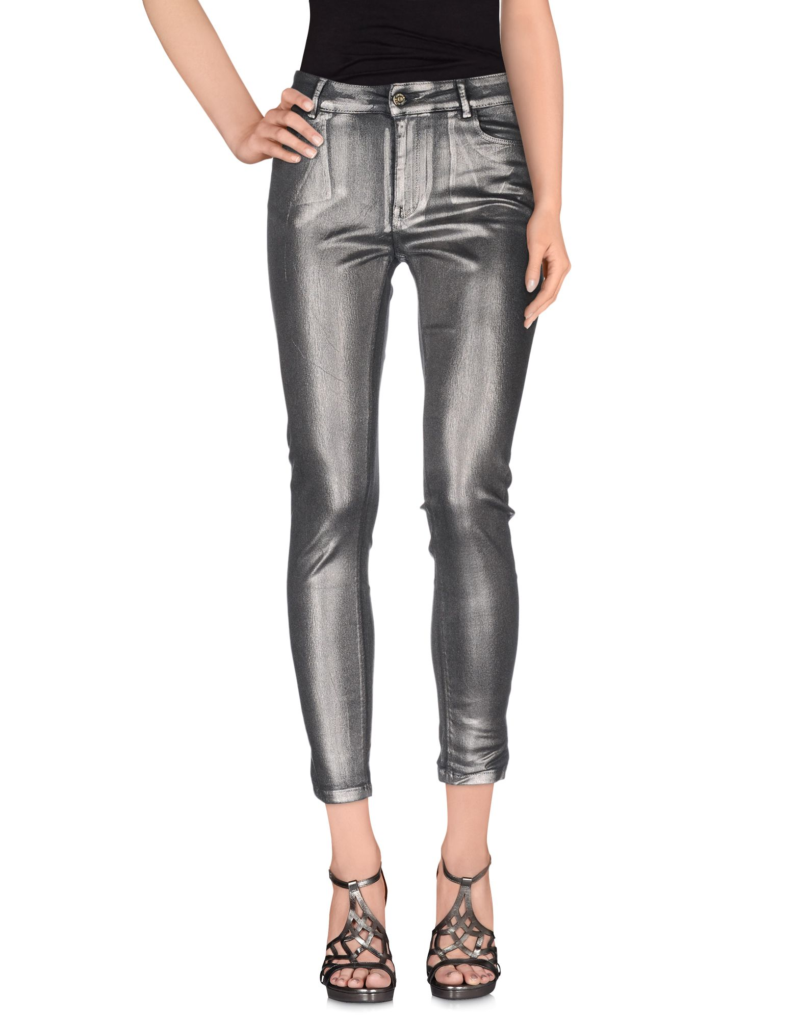 ATOS LOMBARDINI Damen Jeanshose Farbe Silber Größe 3