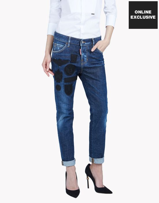 military patches cool girl jeans denim Woman Dsquared2