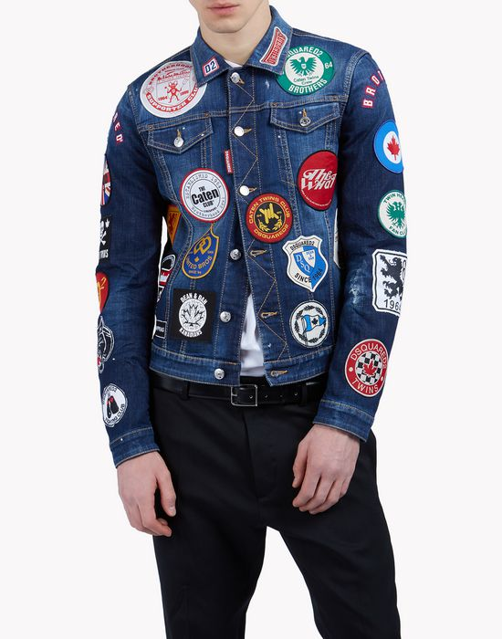 patch denim jacket coats & jackets Man Dsquared2