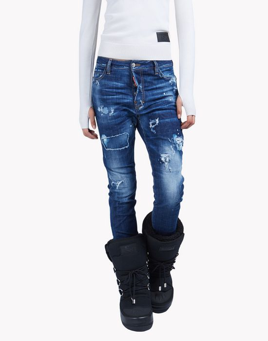 distressed gaiter jeans denim Woman Dsquared2