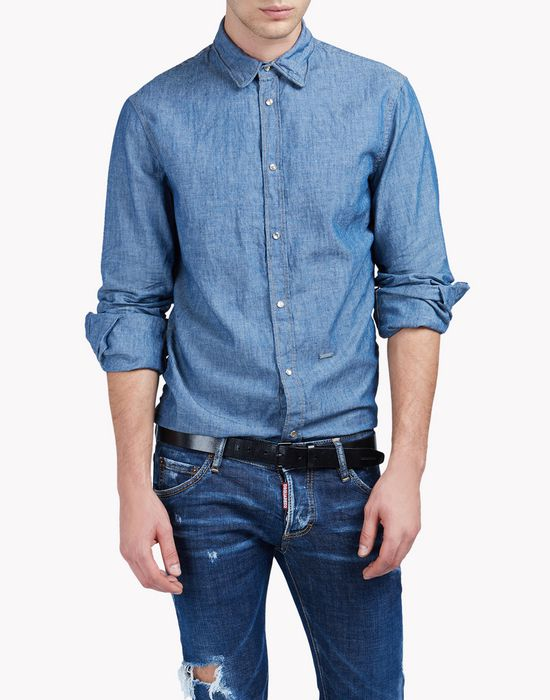 cotton linen denim shirt camisas Hombre Dsquared2