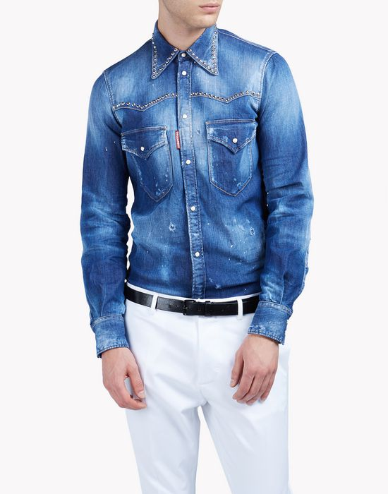 slim-fit western faded denim shirt shirts Man Dsquared2
