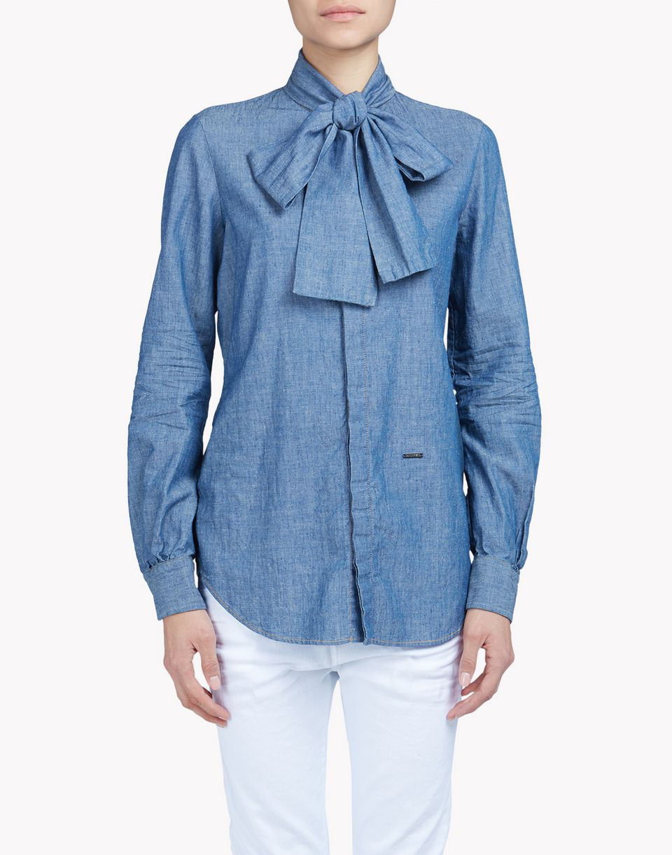 cotton linen pussy bow shirt shirts Woman Dsquared2