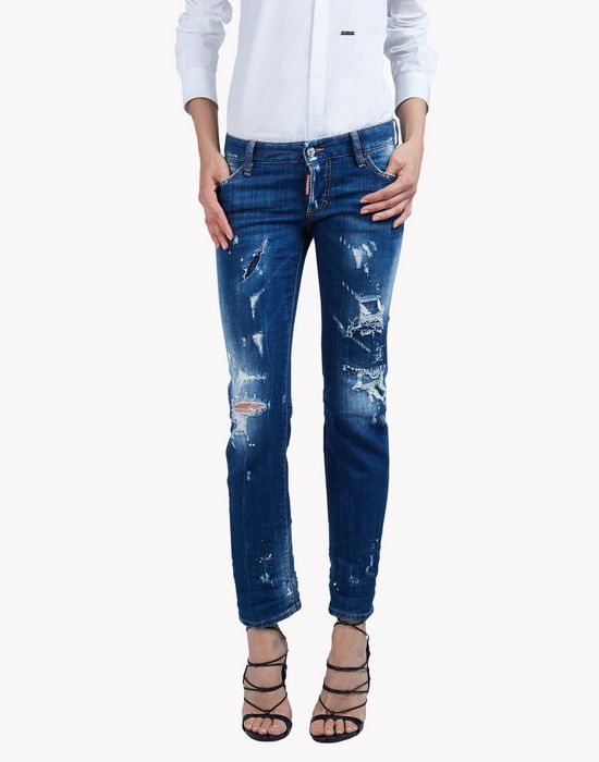 flare distressed jeans denim Woman Dsquared2