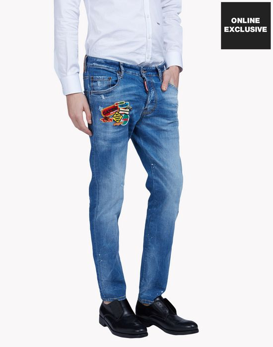 patched pin jeans denim Man Dsquared2