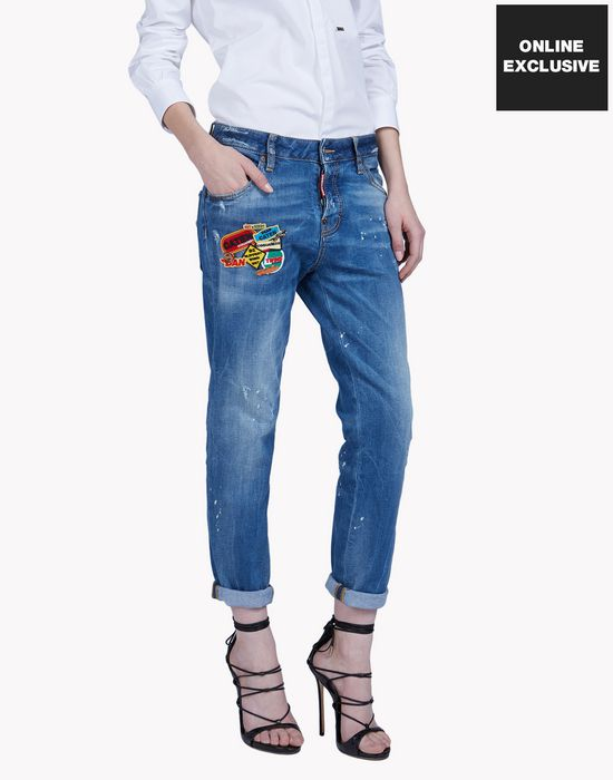 patched pin jeans denim Woman Dsquared2