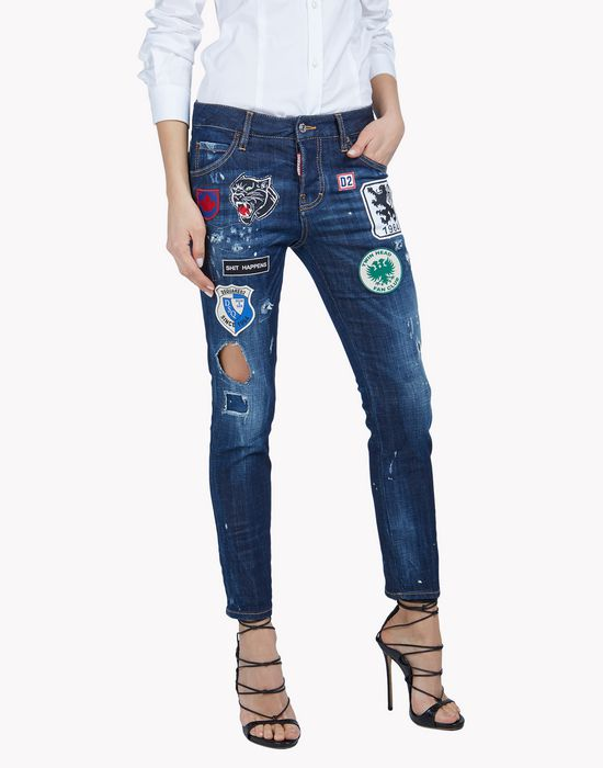 patch cool girl jeans denim Woman Dsquared2
