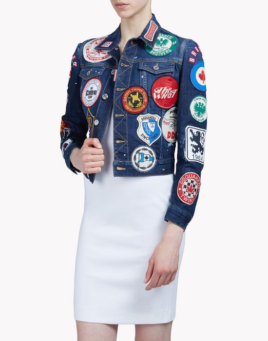 patch denim jacket coats & jackets Woman Dsquared2