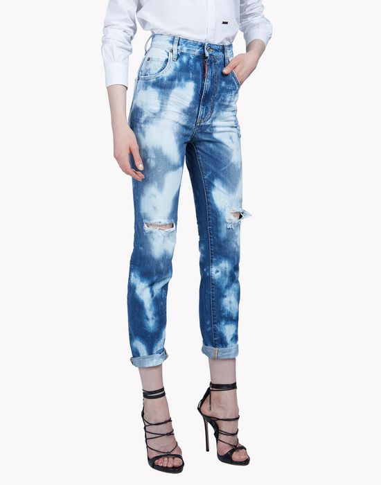 high waisted bleached jeans denim Woman Dsquared2