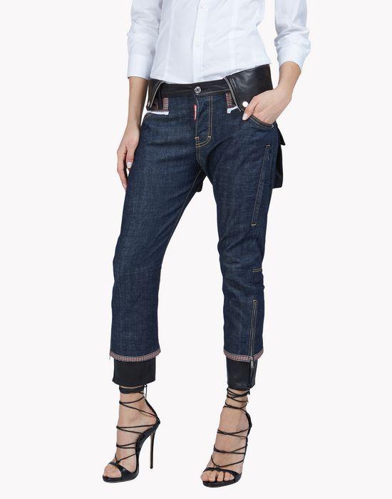 check leather trim jeans denim Woman Dsquared2