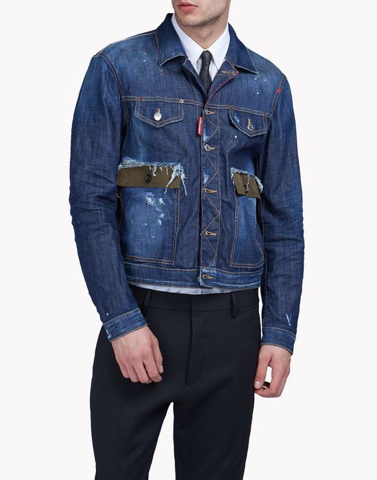 contrasted pocket denim jacket manteaux & vestes Homme Dsquared2
