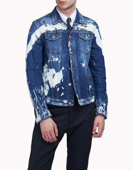 bleached denim jacket mäntel & jacken Herren Dsquared2