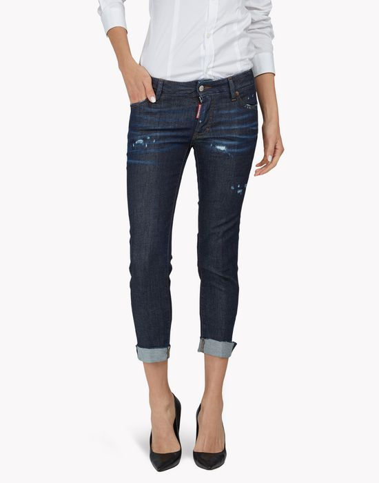 skinny cropped jeans denim Woman Dsquared2