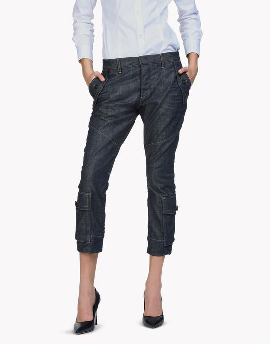 sexy cropped flare jeans denim Woman Dsquared2