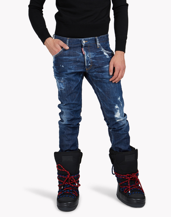 technical ski gaiter jeans denim Man Dsquared2