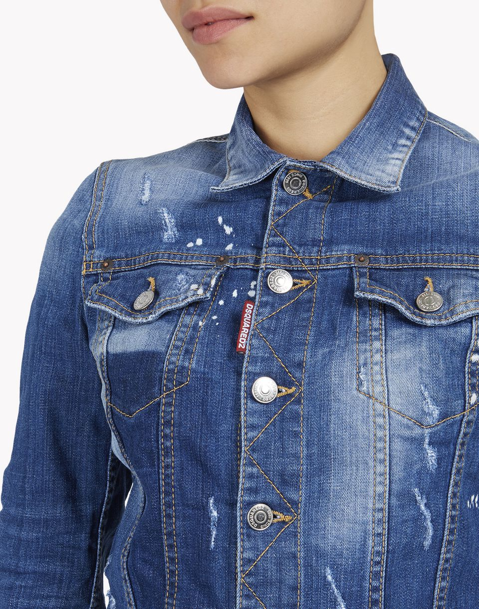 bleached denim jacket coats & jackets Woman Dsquared2