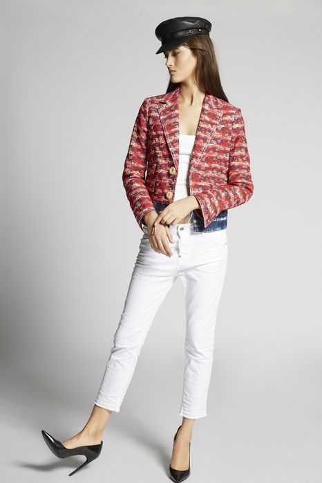 garment dyed cool girl cropped jeans denim Woman Dsquared2
