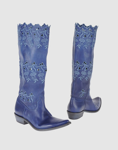 STRATEGIA Women - Footwear - Boots STRATEGIA on YOOX :  blue fashion leather cowgirl