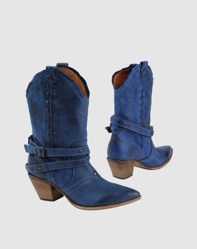 MOMA Women - Footwear - Ankle boots MOMA on YOOX  :  blue fashion leather cowgirl
