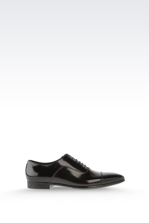 Brushed calfskin lace-up: Lace-up shoes Men by Armani - 1