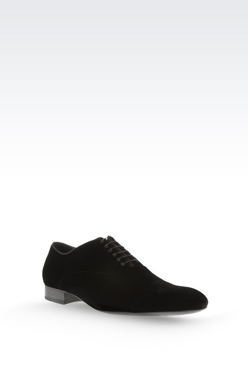 OXFORD IN VELVET WITH GROSGRAIN TRIM: Lace-up shoes Men by Armani - 3