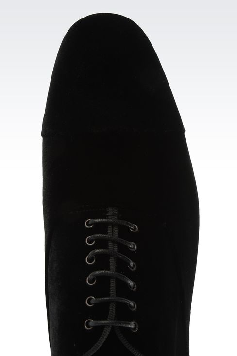 OXFORD IN VELVET WITH GROSGRAIN TRIM: Lace-up shoes Men by Armani - 4