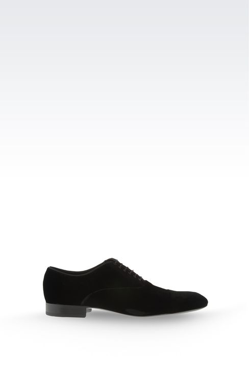 OXFORD IN VELVET WITH GROSGRAIN TRIM: Lace-up shoes Men by Armani - 1