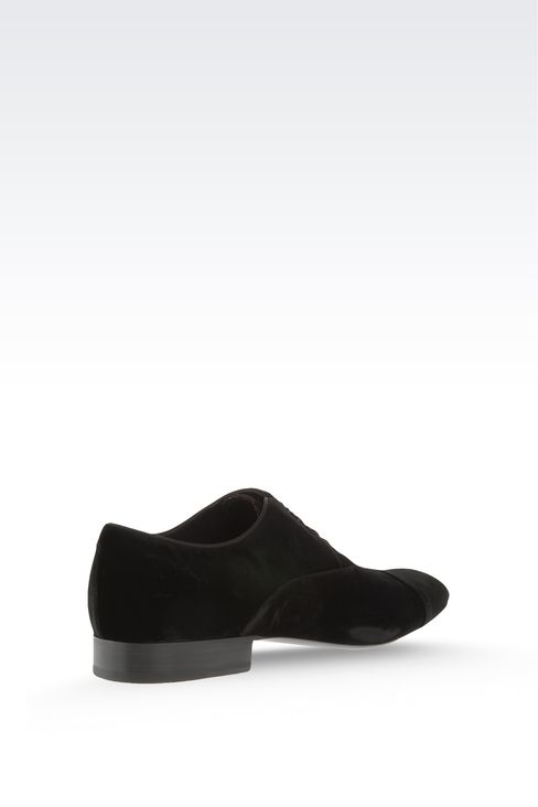 OXFORD IN VELVET WITH GROSGRAIN TRIM: Lace-up shoes Men by Armani - 2