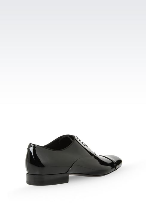 OXFORD IN PATENT LEATHER WITH GROSGRAIN TRIM: Lace-up shoes Men by Armani - 3
