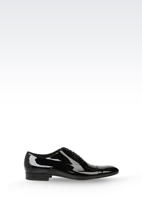 OXFORD IN PATENT LEATHER WITH GROSGRAIN TRIM: Lace-up shoes Men by Armani - 1