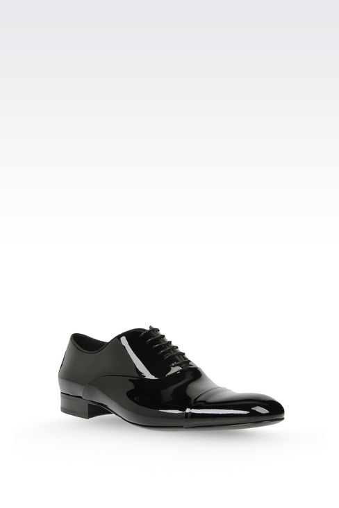 OXFORD IN PATENT LEATHER WITH GROSGRAIN TRIM: Lace-up shoes Men by Armani - 2