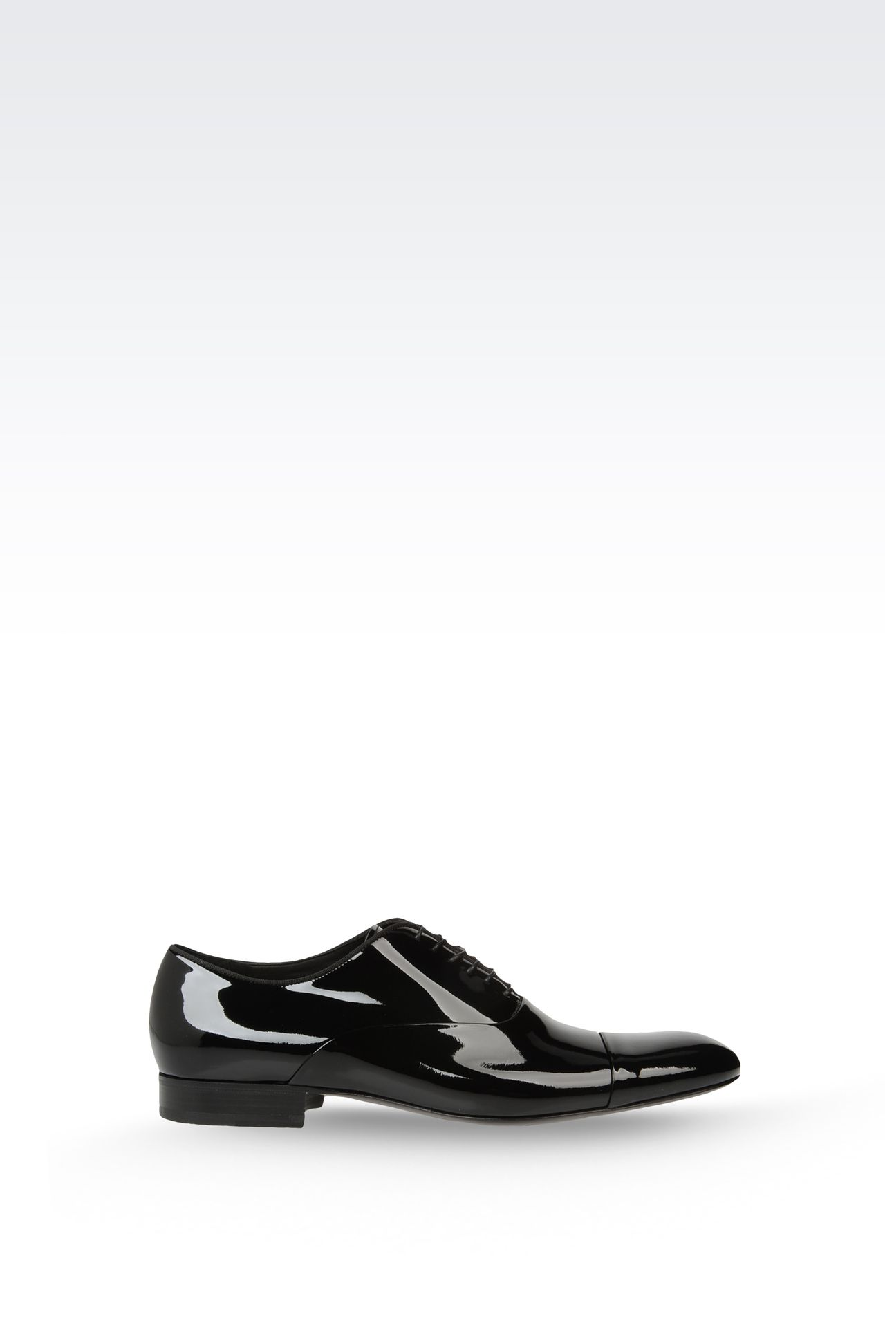 OXFORD IN PATENT LEATHER WITH GROSGRAIN TRIM: Lace-up shoes Men by Armani - 0