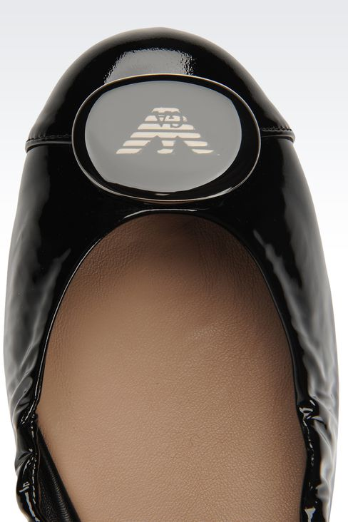 patent effect ballet flat with elastic edge: Ballet flats Women by Armani - 4