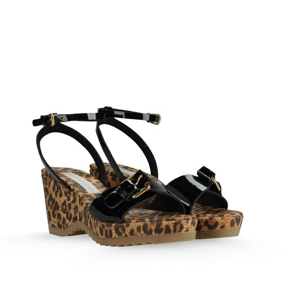 Stella McCartney, Linda Patent and Leopard Print Sandals 