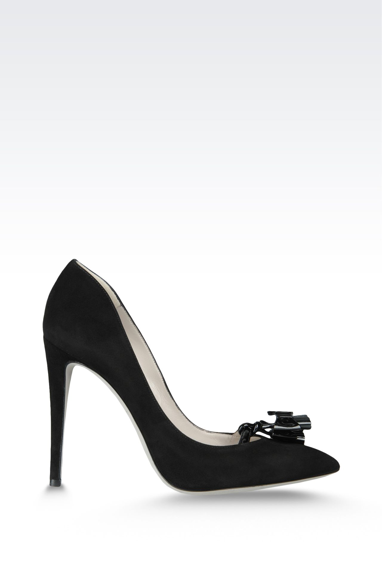 suede pump with patent tassels: Closed-toe slip-ons  Women by Armani - 0