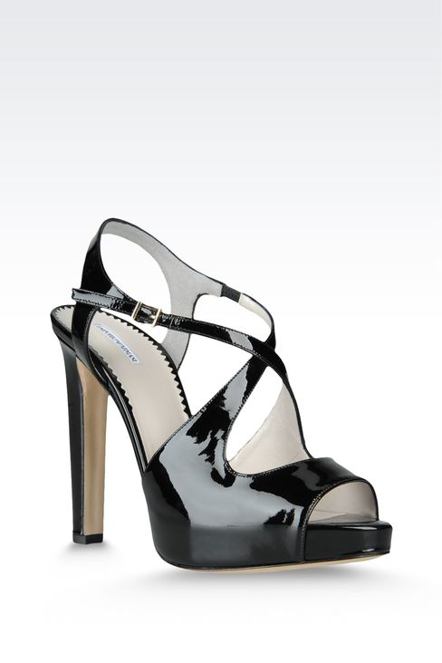 open toe sandal with crossover straps: Platform sandals Women by Armani - 2
