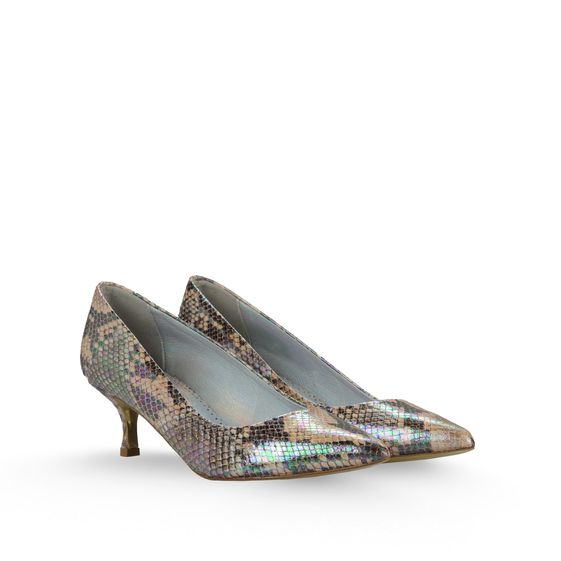 Stella McCartney, Pumps Gwen mit 50mm Absatz in Pythonleder-Optik mit Hologramm
